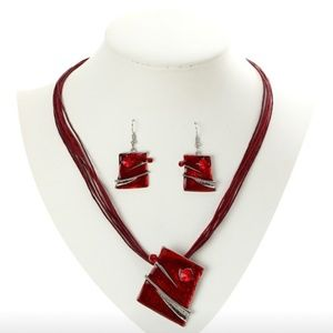 Red Statement Square Necklace